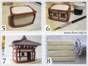 Японский домик из мастики