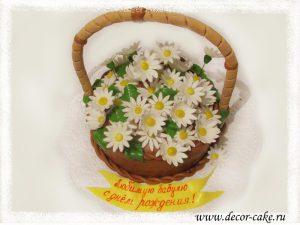 Торт корзинка с ромашками