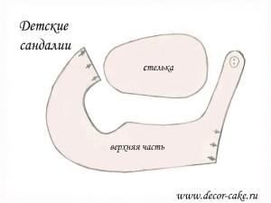 Выкройка детских сандаликов из мастики