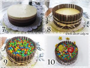 Мастер-класс по украшению торта из  M&M и кит кат