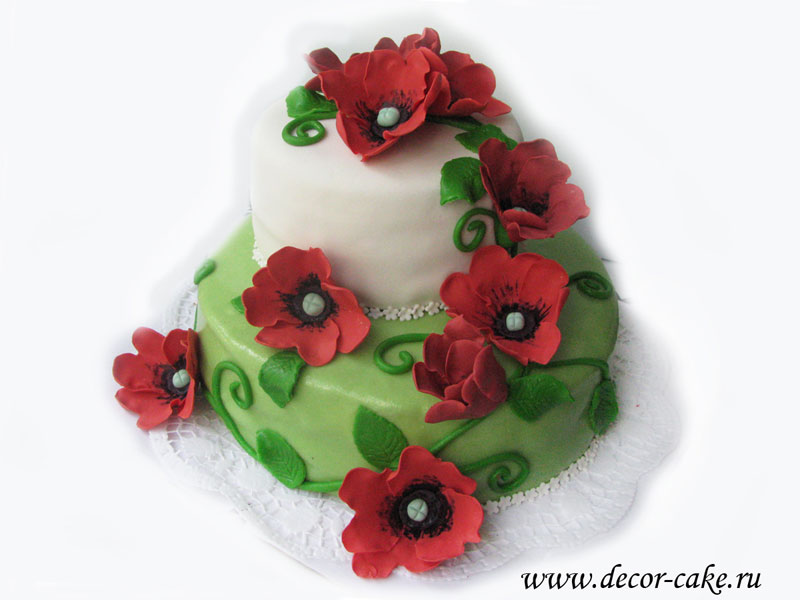 Торт с маками двухъярусный